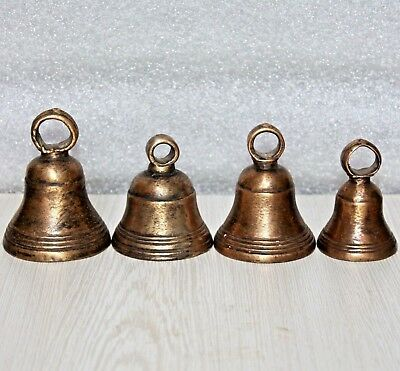Old 1910s Four Antique Handmade Bronze Mixed Solid Brass Bells with New Pendulum