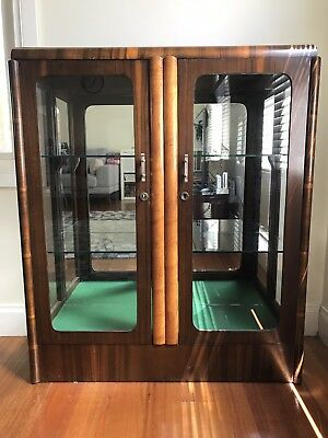 Wooden display cabinet glass - Art Deco - Buffet China Walnut - Good Condition