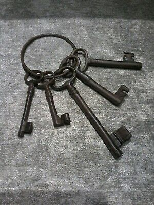 Vintage Wrought Iron Set Of Five Keys. Lovely Piece. Largest 15Cm.