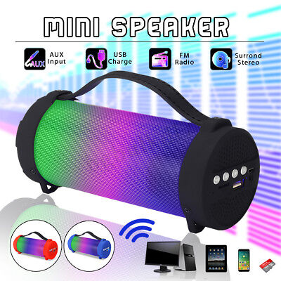 CASSA PORTATILE LED SPEAKER ALTOPARLANTE bluetooth WIRELESS SUBWOOFER AUX FM
