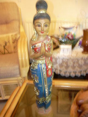 Vintage hand carved Highly decorated wooden Balinese figurine