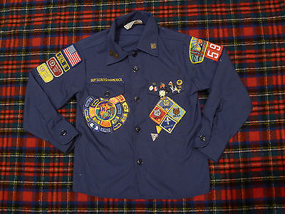 Vtg Boy Scout Cub S-M (6-8) Blue SHIRT Patches Pinbacks button Tons! Must See!