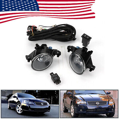 Pair Clear Front Bumper Fog Lights Lamp w/Switch For Nissan Altima JDM 2005-2006