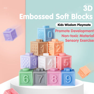 Rubber Baby Building Blocks 3D Soft Squeeze Kid Children Educational Bath Toy