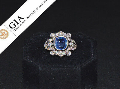 GIA Natural 4.6CTS Diamond No Heat Blue Sapphire 18K Solid Gold Bombay Dome Ring