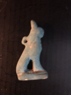 Rare Ancient Egyptian Pendant Blue Cat Amulet 26th DYN 680 Bc