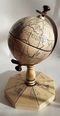Vintage Reproduction Historical Globe - Faux Scrimshaw