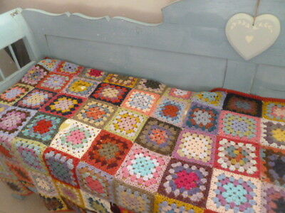 Vintage handmade knitted unusual patchwork wool granny blanket bench throw quilt