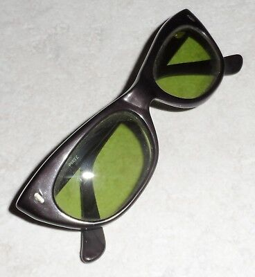 VINTAGE ITALY PIAVE 1950s 60s SUNGLASSES GLASS GREEN LENSES ACETATE NOS
