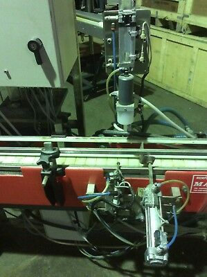 Pot Filling Line Liquid Single Head Piston Filler Marin G & C Conveyor