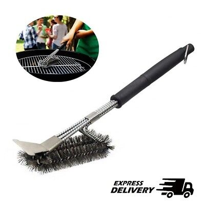 Long BBQ Grill Brush Cleaner Steel Bristle Barbecue Cleaning Tool With Scraper