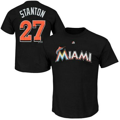 Adult M Miami Marlins Majestic Official Stanton 27 M244