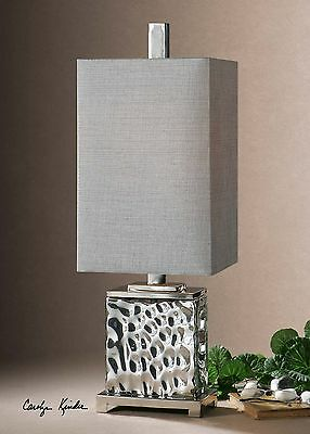 """32"""" Nickel Plated Water Glass Table Lamp Metal Accents Silver Gray Shade Light"""