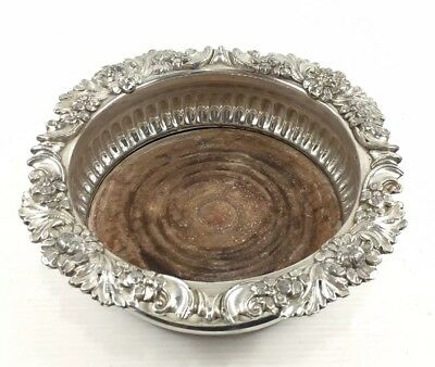 Antique Silver Plated Wine Coaster Fluted With Floral Design