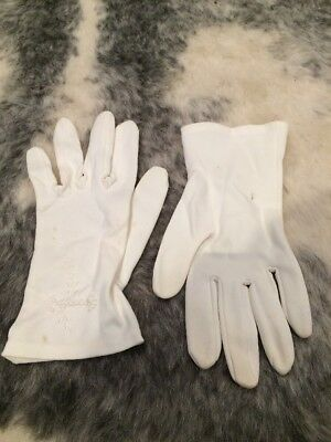 Vintage Cream Embroidered Gloves For Small Hands