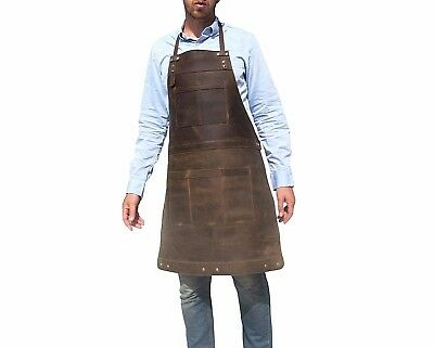 Professional Leather Work Apron for Chef Butcher Carpenter Blacksmith Tattooist