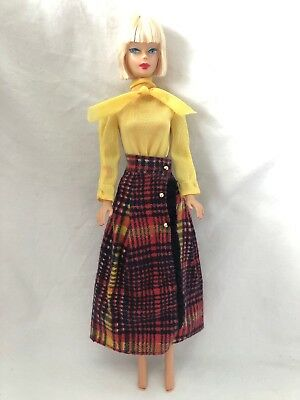 Vintage Barbie Doll Best Buy Fashion Outfit 3341 LONG 'N FRINGY Plaid Skirt