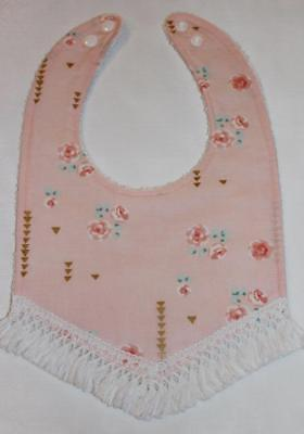 boho fringe roses metallic pink handmade bib arrows and flowers 6-18 months