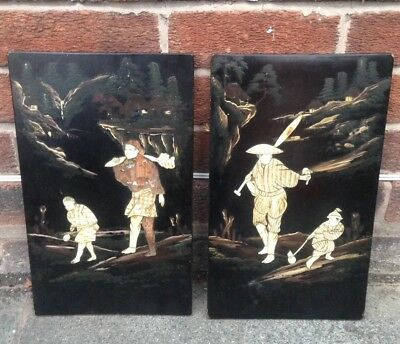 Pair Of Japanese shibayama wooden panel With Inlaid Figures on Black Lacquer