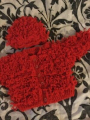 Baby loopy  cardigan  Hat. Red 6.9 M