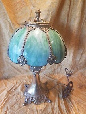 Vintage Antique 1800's Bradley & Hubbard glass brass panel lamp great condition