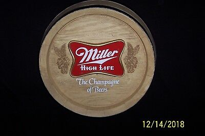 Vintage MILLER HIGH LIFE The Champagne of Beers 3-D BEER BARREL Wall Sign