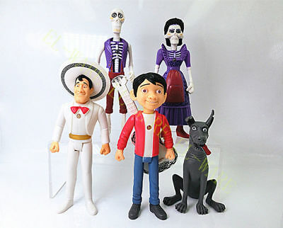 5 Pcs Disney Movie Pixar Coco Miguel Hector Joint Moveable Action Figure Model