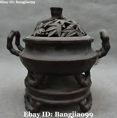 """11"""" Old Chinese Purple Bronze Ancient Bamboo Incense Burner Incensory Censer"""