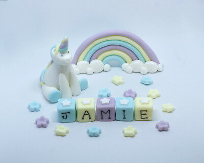 Personalised Handmade Edible Unicorn And Rainbow Birthday Cake Topper Decoration