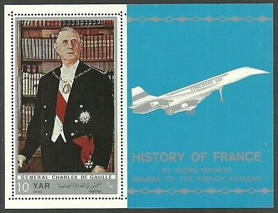 Yemen 1970 History Of France Military De Gaulle Aircraft Concorde M/sheet Mnh