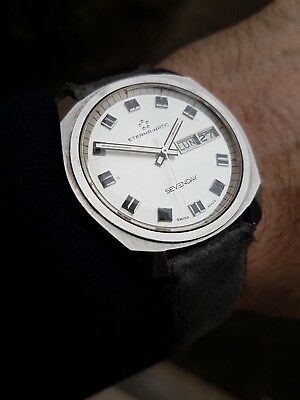 Eterna Matic Swiss Made Sevenday Montre Vintage Homme 1970 Day Date Old Watch 👍