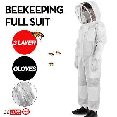 3 Layers Beekeeping Full Suit Astronaut Veil W/ Gloves Protective Apiary XL