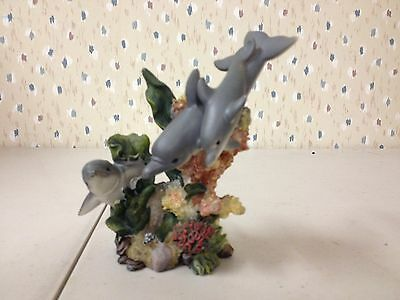 Family of Dolphins Figurine-coral reef-ocean-nautical-marine life-porpoise
