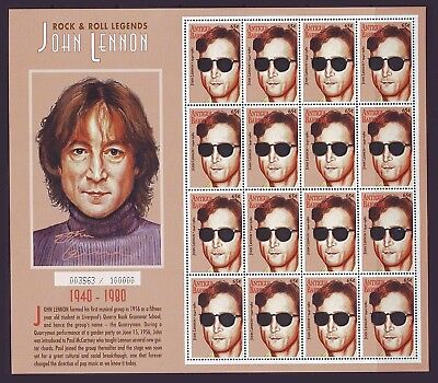Antigua 1995 Pop Rock Music The Beatles John Lennon Set Of 4 M/sheets Mnh