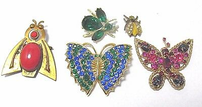 PIN LOT OF 5 RHINESTONE BUTTERFLIES INSECTS SYBOLL vintage