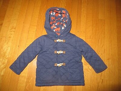 Baby Boden boys navy blue quilted duffle coat jacket fox cub toggles 18-24 month