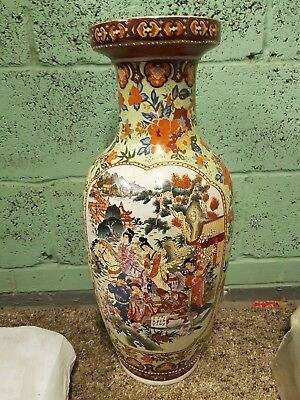 Large Vintage Hand Painted Decorative CHINESE FLOWER VASES