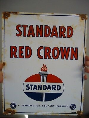 Old 1948 Standard Red Crown Oil Company Porcelain Enamel Gas Pump Sign