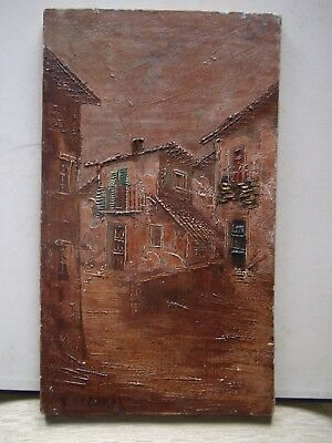 Original old impasto oil painting, signed illegibly.