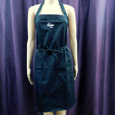 Kroger Apron Smock Employee Black Embroidered Logo One Size Polyester Cotton Tie