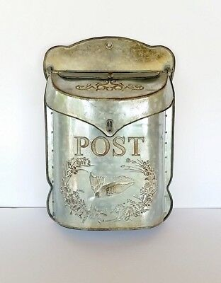 Vintage Metal Mailbox Wall Mount Rustic Distressed Antique Post Box Galvanized