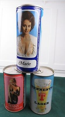 3 Vintage Tennent's Import Cans Featuring Penny and Marie
