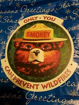 "SMOKEY BEAR weather-proof Fiberglass.sign.11"" x 10"""