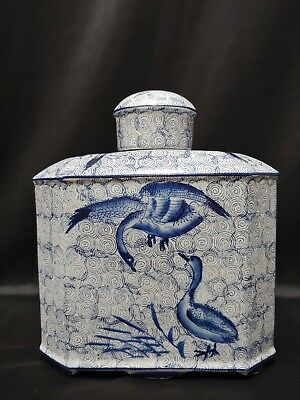 Blue and White Oriental Footed Ginger Tobacco Tea Jar Birds
