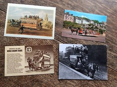 4 Postcards Of Horse Drawn Trams - 2 New And 2 Used