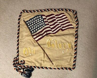 antique 1896 - 1906 needlepoint flag pillow cover