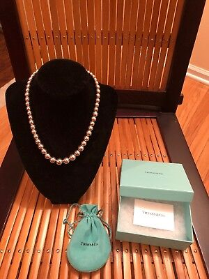 Tiffany & Co. Sterling Silver Graduated Bead Necklace With Original Box 16 Inch