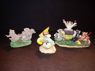 Charming Tails Lot of 3 Figurines by Fitz and Floyd, Love Friendship Beach