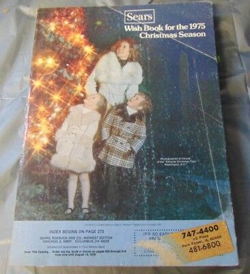 1975 Sears Roebuck & Co. Christmas Wishbook Catalogue Catalog Vintage Toys Wish