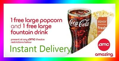 AMC Theater Large Popcorn & Large Drink Coke || Super Fast E-Delivery